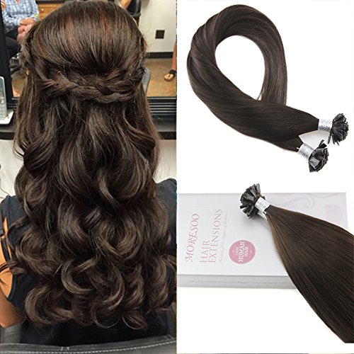 Moresoo 22 Inch Fusion Remy Hair Flat Tip Extensions Tipped Human Hair Karatin Hair Extensions Color  2 Darkest Brown Tipped Hair Pre Bonded Hair Extensions 1G 1S 50G