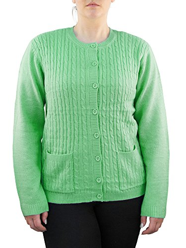 Knit Minded Womens Plus Size Long Sleeve Two Pocket Cable Knit Cardigan Sweater Green 2X
