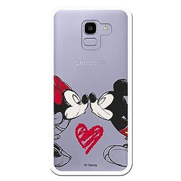 Carcasa Oficial de Disney Mickey Y Minnie Beso Clear para Samsung Galaxy J6 2018 - La Casa de Las Carcasas