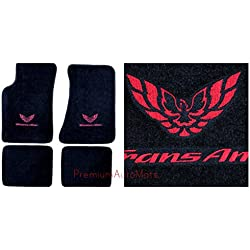 Avery's Floor Mats Part Compatible with Pontiac Firebird Trans AM 4 Piece Custom Fit Black Carpet Floor Mat Set with GM Licensed Firebird/Trans AM Logo on Front Mats - Fits 1982-2002
