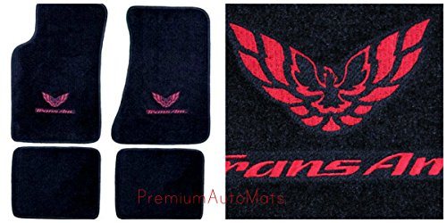 Set Pontiac Firebird - Pontiac Firebird Trans AM 4 Piece Custom Fit Black Carpet Floor Mat Set with GM Licensed Firebird/Trans AM Logo on Front Mats - Fits 1982-2002