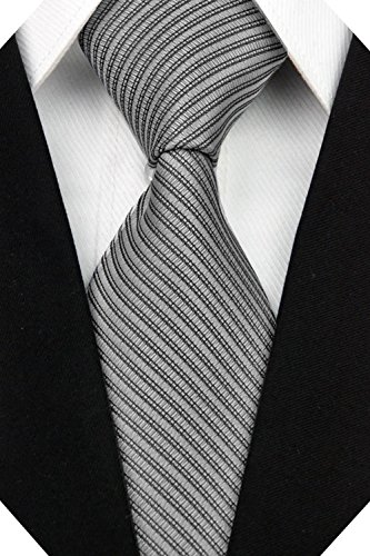 Wehug Men's Classic Solid Tie Silk Woven Necktie Jacquard Neck Gray Ties For Men - Gray Tie Silk