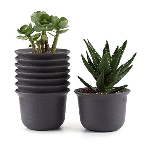 T4U 5 Inch Plastic Round Succulent Plant Pot/Cactus Plant Pot Flower Pot/Container/Planter Tan Package 1 Pack of 8