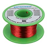 """BNTECHGO 32 AWG Magnet Wire - Enameled Copper Wire - Enameled Magnet Winding Wire - 4 oz - 0.0078"""" Diameter 1 Spool Coil Red Temperature Rating 155℃ Widely Used for Transformers Inductors: more info"""