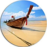 Designart MT8945-C23 ''Thai Long tail Boat Beach and Shore Disc'' Metal Wall Art, 23'' x 23'', Blue/Brown