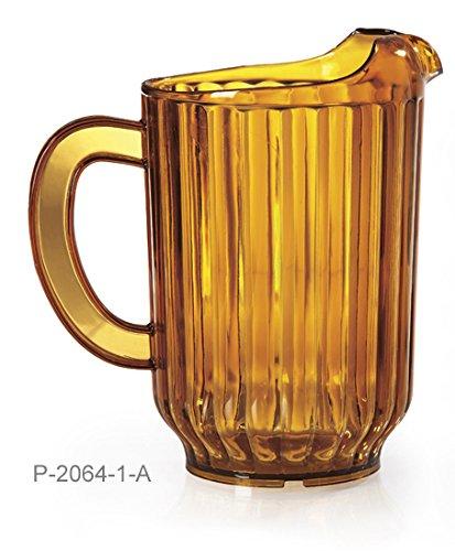 60 oz. Amber Plastic Pitcher, Dishwasher Safe, Break Resistant, for Indoor and Outdoor Entertaining, by GET P-2064-1-A (Pack of 12) (Plastic Dishwasher Safe Pitcher)