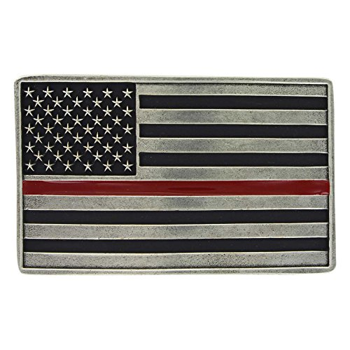 Montana Silversmiths Stand Behind The Thin Red Line American Flag Attitude Belt Buckle, 3.95