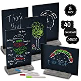 Mini Chalk Board by East World - Double-Sided Chalkboard Sign for Wedding Decorations, Signs, Labels and More! Also Multi-Size 6x9' or 9x6' Blackboard! Set of 5 Small Tabletop Chalkboards with Stand