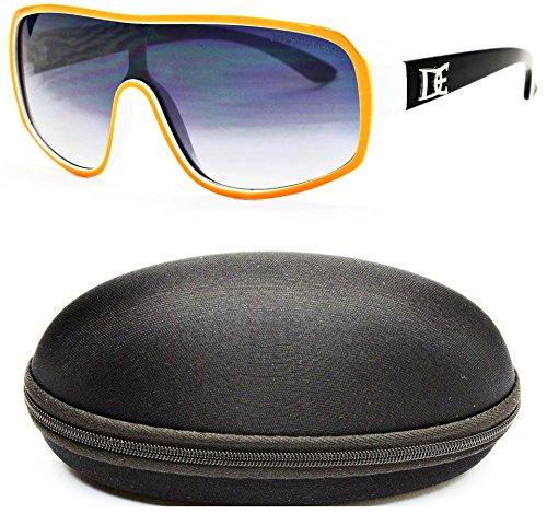 D677-cc Designer Eyewear Oversized Turbo Sunglasses (O2659B Orange/White/Black-Smoked, - Brands Celebrity Eyeglasses