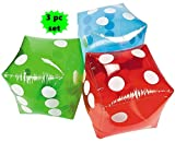 "SET of 3 ~ Giant inflatable dice - 16"" RED BLUE and GREEN"