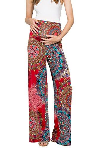 My Bump Women's Maternity Casual Bohemian Damask Palazzo Pants W/Tummy Control (Small,...