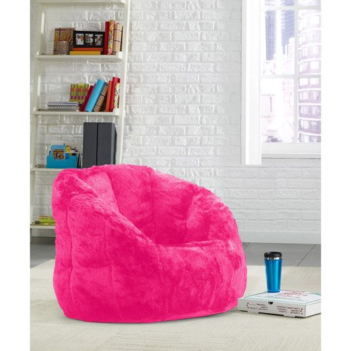 Chic Faux Fur Bean Bag Chair, Upholstered in Plush with Rich Colors and Patterns, Structured Shape for Support, Lightweight Bean Bag Filling, Pink + Expert Home ()