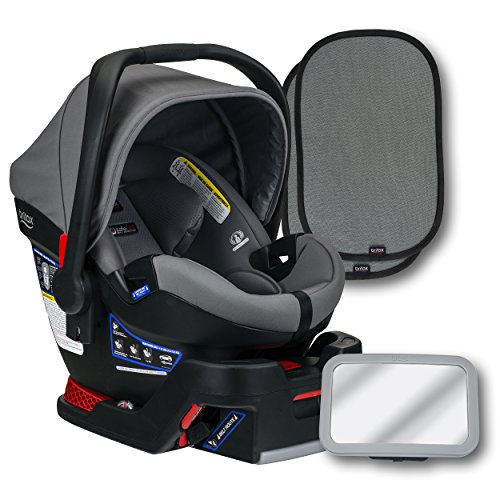 Britax B-Safe Ultra Infant Car Seat, Gris, Back Seat Mirror, and 2 EZ-Cling Window Sun Shades