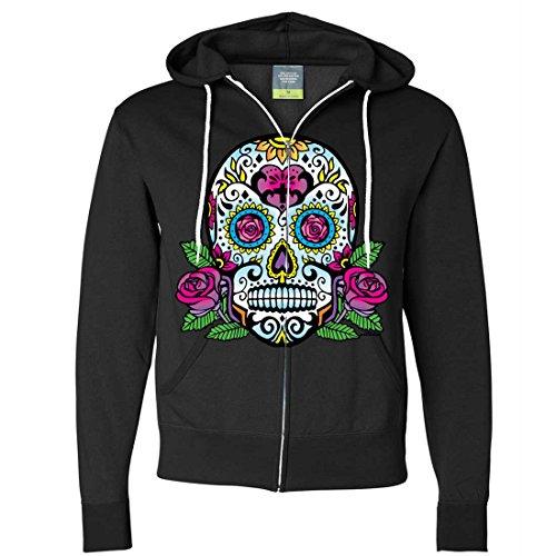 Dia De Los Muertos Sugar Skull Roses Zip-Up Hoodie - Black 3X-Large (Skull Pink Hoodie)
