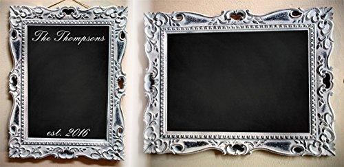 Personalized Chalkboard Sign | Wedding Decorations Reception, Restaurant Café Menu, | Rustic Wood Blackboard | Features a scroll design, aged patina finish and your custom text title (Patina Large Outdoor Hanging)