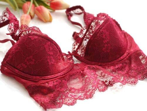 FidgetKute Womens Push Up Bra Set Embroidery Lace Lingerie Bra 32-42 ABCD Cup and Panties 40 Red D