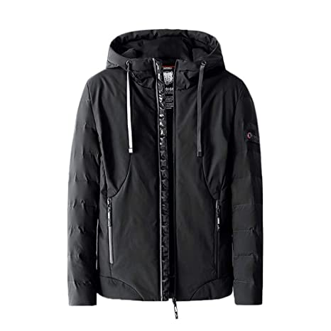 Men Warm Winter Casual Hoodie Zipper Pocket Pure Color Thickened Cotton Outwear Coat at Amazon Mens Clothing store: