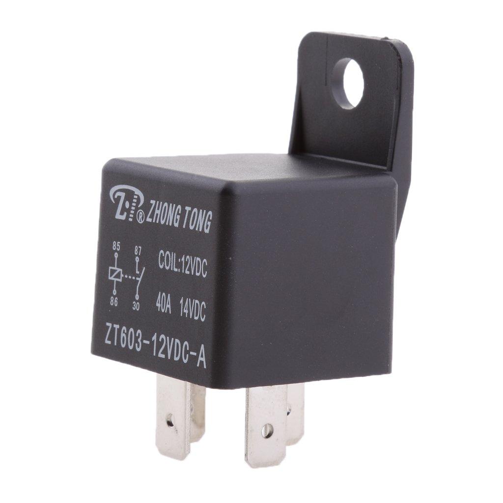 Almencla 12V 80A 4 Pin Automotive Normally Open Contact Relay - Black, 40A