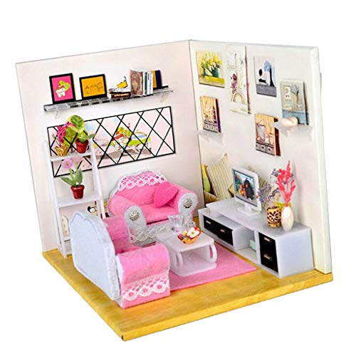 (NATFUR 1:24 Miniatures Dollhouse Wooden Model Kits LED Puzzle Toy Creative Gifts)