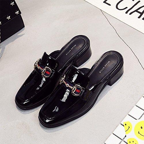 black Baotou con ed Qingchunhuangtang primavera denso la In sandali ciabattine di quadrato Lazy estate pantofole metà H0qZ0R6wx
