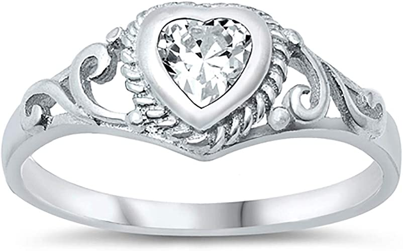 CloseoutWarehouse Clear Cubic Zirconia Single Stone Heart Shape Ring Sterling Silver