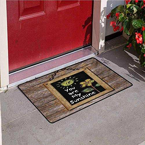 Jinguizi Quote Inlet Outdoor Door mat Love Valentines Phrase with Flower and Hand Drawn Sun Figure on Framed Wooden Wall Catch dust Snow and mud W35.4 x L47.2 Inch Multicolor