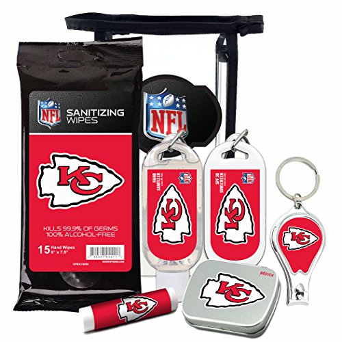 (Kansas City Chiefs 6-Piece Fan Kit with Decorative Mint Tin, Nail Clippers, Hand Sanitizer, SPF 15 Lip Balm, SPF 30 Sunscreen, Sanitizer Wipes. NFL Football Gifts for Men and Women)