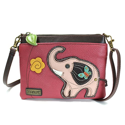 (Chala Mini Crossbody Handbag, Multi Zipper, Pu Leather, Small Shoulder Purse Adjustable Strap - Elephant - Dark Pink)