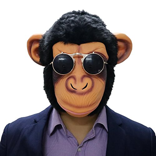 Flowersea998 Deluxe Novelty Cute Creepy Latex Rubber Chimp Monkey Orangutan Gorilla Head Mask Halloween Party Costume Decorations for Adult Men Women]()