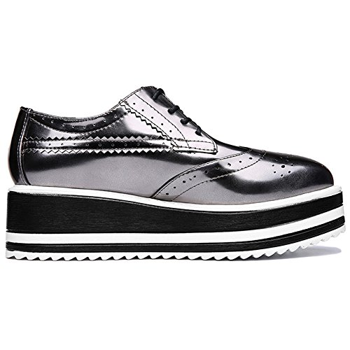 Womens Fashion Brogue Sneakers Thick Bottom Sneaker for Girls Anti-slip Rubber Sole Lace up Casual Shoes by U-MAC (Image #5)
