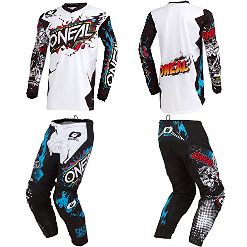 O'Neal Element Villain White Kids/Youth motocross MX off-road dirt bike Jersey Pants combo riding gear set (Pants 5/6 (22) / Jersey Kids Small) - Oneal Youth Element
