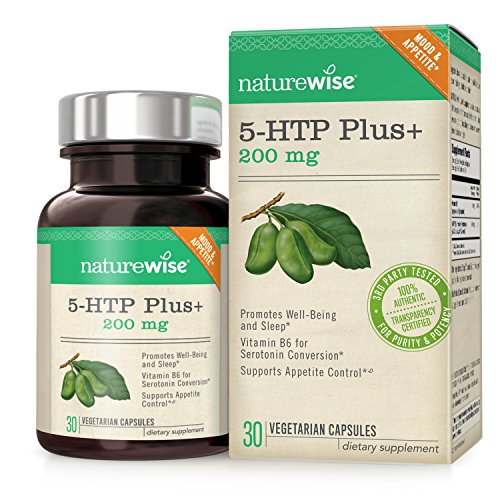 NatureWise 5-HTP Plus+ 200mg, Advanced Time Release, Supports Appetite Suppression & Natural Weight Loss, Mood Enhancement, Sleep Aid, Non-GMO, Gluten Free, 30 Vegetarian DRCaps