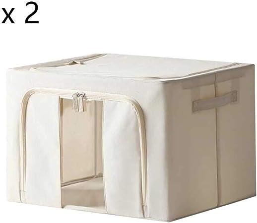 YCSD Pack - 2 ,Caja De Almacenamiento De Marco De Hierro Colcha De Ropa Paño Oxford Caja De Acabado Caja De Almacenamiento Grande Blanquecino (Size : 125L): Amazon.es: Hogar