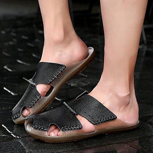 Estate Uomo Yiruiya Nuovi Sandali Pantofole Pelle Nero in IfrIqw