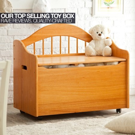 Honey Limited Edition Toy Box, Toy Chest Keeps Room Tidy with Clear of Clutter, Helps Teach the Need of Getting Organized, Roomy Storage, Doubles as a Bench Bundle with Expert Guide for Better Life by Home X Style