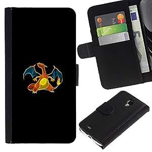 KLONGSHOP // Tirón de la caja Cartera de cuero con ranuras para tarjetas - Charizard P0kemon - Samsung Galaxy S4 Mini i9190 //