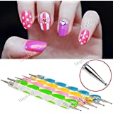 New 5pcs 2 way dotting pen marbleizing tool nail art amazon tiny deal 5 x double way nail art dotting pen marbleizing paint tool for girls hbi prinsesfo Image collections