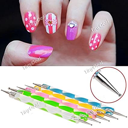 Tiny Deal 5 X Double Way Nail Art Dotting Pen Amazon Electronics