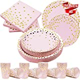 Modda 200Pcs Pink and Gold Dot Disposable Paper Plates, Cup, Napkin Set - 50 Dinner and Dessert Plates, 50 Cups and Napkins - Engagement Birthday Bachelorette Baby Shower Party Plates, Dinnerware Sets