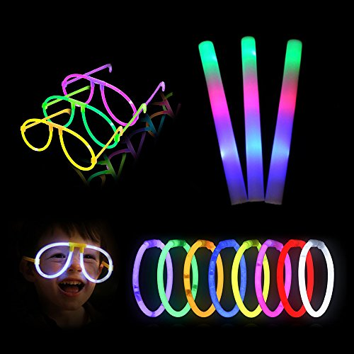 Glow Sticks Party Pack Supplies - 12 PCS LED Light Up Foam Sticks and 30 PCS Glowsticks, Glow Toys for Kids Birthday Parties Weddings by Lifbeier