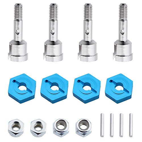 Hobbypark 7mm to 12mm Aluminum Wheel Hex Hub Convert Adapter & Axle Shaft & Locknuts For Wltoys A949 A959 A969 A979 K929 RC Car 1/18 Turn 1/10 Upgrade Parts (Set of 4)