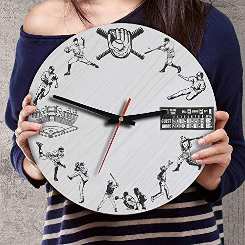 Baseball Theme Wall Clock - VTH Global 12 Inch Silent Battery Operated Baseball Wood Wall Clocks Gifts for Players Boys Kids