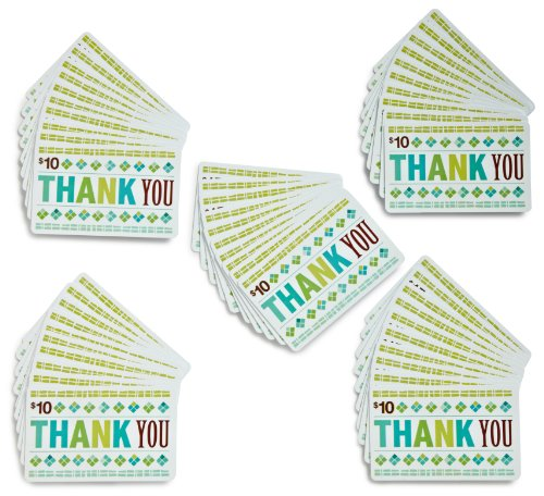 Amazon.com $10 Gift Cards, Pack of 50 (Thank You Card Design)