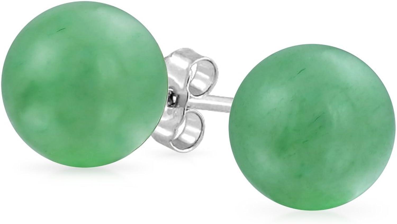 Simple Teñido De Verde Piedras Preciosa Venturina Balón Redondo Pendiente De Boton Para Mujer 925 Plata De Ley 925 8Mm