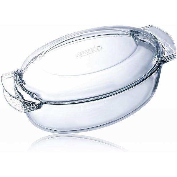 Pyrex 460A000/5043 - Cacerola ovalada de cristal con tapa, 5.8 L ...
