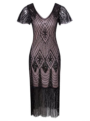 VIJIV Women Vintage Style 1920s Dresses Inspired Beaded Cocktail Flapper Dress for Wedding Gatsby Party with Sleeves Black Beige ()