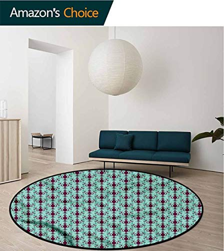 RUGSMAT Damask Modern Machine Washable Round Bath Mat,Floral Vase Pattern Perfect for Any Room, Floor Carpet Round-47 ()