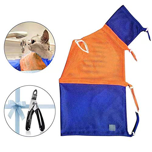 MuXin Cat Grooming Bag with Nail Clipper Adjustable Cat Bathing Bag Scratch...