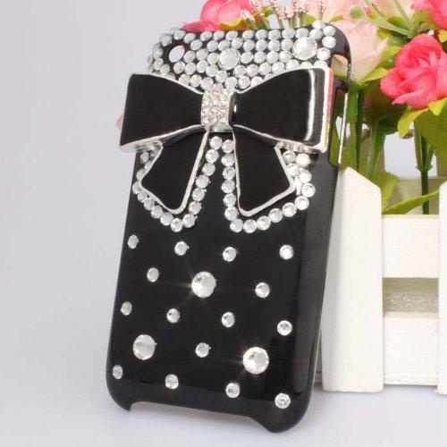 Handmade Cute 3D Crystal Rhinestone Bling Diamond Black Bow Bowknot Black Hard Back Case Cover for Apple iPhone 3G 3GS