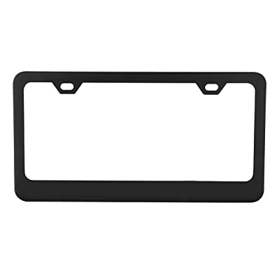 Grand General 60439 Matte Black Powder Coated License Plate Frame with 2 Holes: Automotive